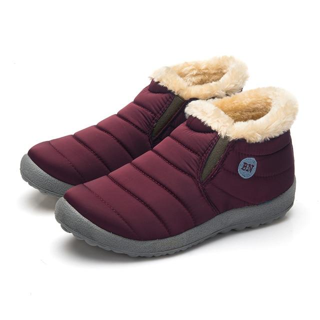 Waterdichte Vrouwen Winter Schoenen Paar Unisex Snowboots Warm Bont Binnen Antislip Bodem Warm Houden Moeder Casual Laarzen Size35-48