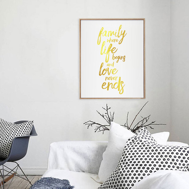 Family Where Life Begins And Love Never Ends Gold Foil Quotes Home