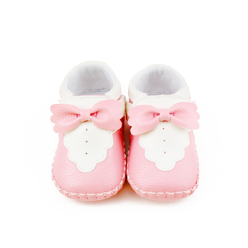 Delebao New Arrival Big Bow Patchwork Shallow Soft Sole First Baby Girls Casual Shoes For 0-18 Months First Walkers Wholesale