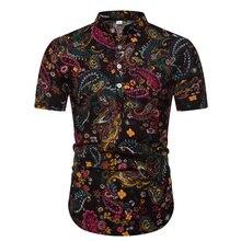2019 summer mens shirts big sizes good quality half button mandarin collar for men desginer