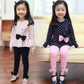girls spring autumn fashion Polka dot 2 pieces suit kids princess bow sets  pink navyblue tshirt leggings whole suits tracksuit