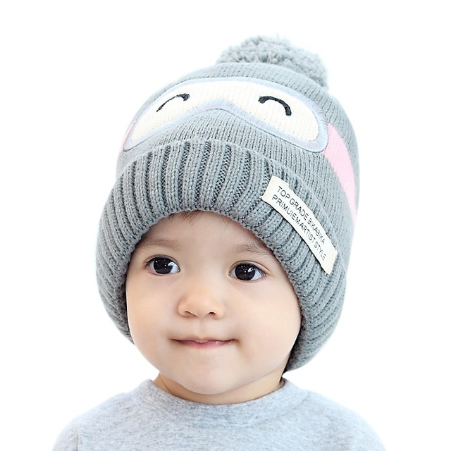 Children Winter Hat Bomber Hats For Girls Hat Knitted Beanies Cap Brand New  Thick Baby Cap Baby Girl Winter Warm Hat 9a0fdd174c6