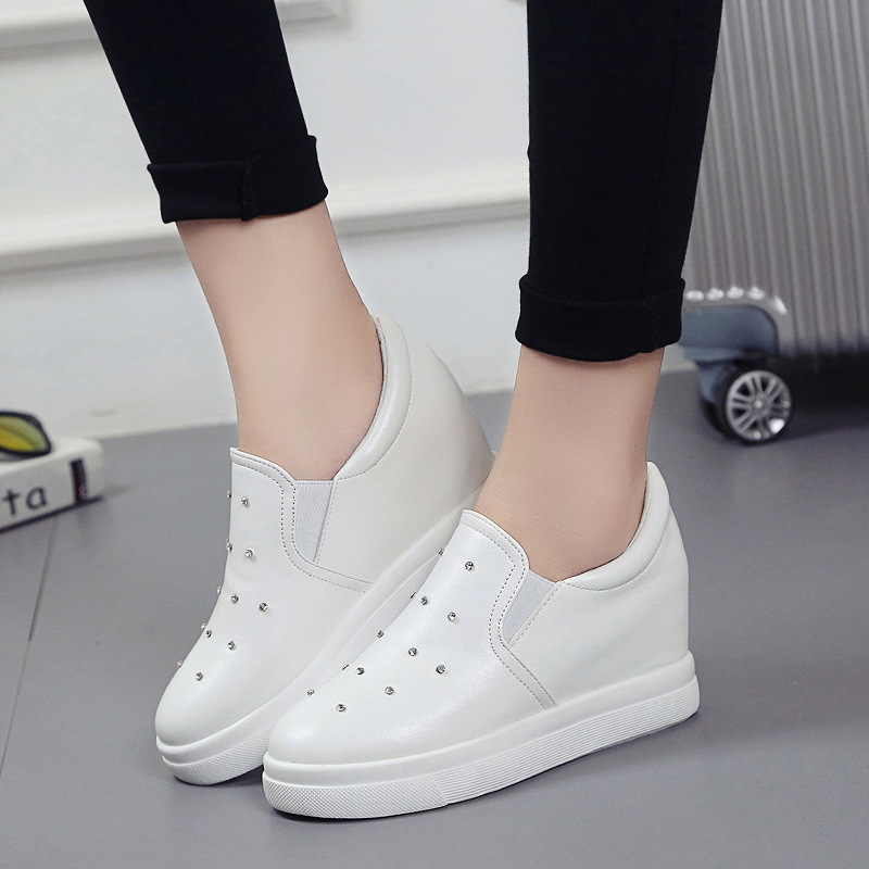 Floral PU Shoes Footwear Scarpe Donna Appliques Slipony Women Shoes Height Increase Girl Female Comfort Slipon