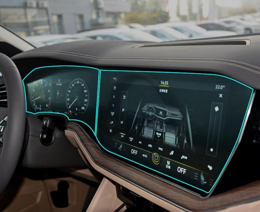 Car TPU Instrument Panel Dash Board Screen Guard Navigation LCD Cover Sticker Film For Volkswagen Touareg 2019 Interior