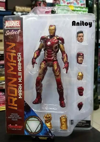 Marvel Select Iron Man MK43 Mark XLIII Armor PVC Action Figure Collectible Model Toy 7 18cm KT067 crazy toys avengers age of ultron iron man mark xliii mk 43 pvc action figure collectible model toy 12inch 30cm