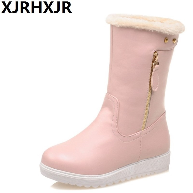 XJRHXJR Winter Warm Shoes Women Sweet Snow Boots Pink White Color Fashion Flat Heel Plush Round Toe Boots Slip On Shoes cute women winter snow boots slip on soft fur warm shoes candy color ankle boots woman round toe solid flat biker boots