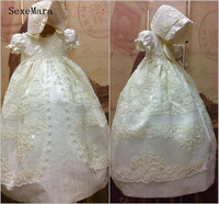 Ivory White High Quality Baby Girls Christening Gown Lace Pearls Long Baptism Dress with Bonnet Ribbon Newborn 6M 12M 18M 24M
