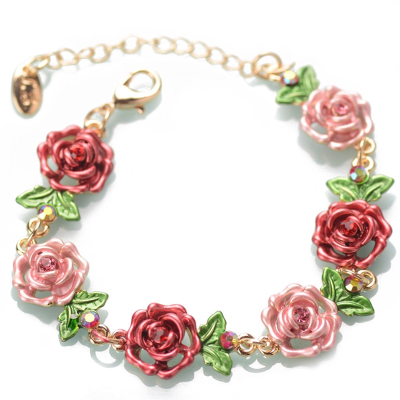 Pink Blue Red Rose Flowers Wrist Chain Charm Bracelets For Women Fashion Jewelry Cloisonne Floral Bracelets Gift
