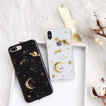 3D Moon stars Bling Glitter phone Cases for iphone X XR XS Max Space planet Soft silicon Case For 6 6s 7 8 plus
