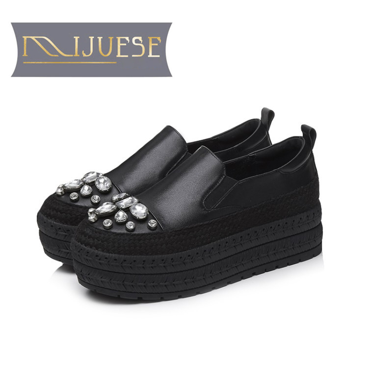 MLJUESE 2018 women flats cow leather lace up crystal black color platform loafers casual shoes creeper shoes women shoes 2018 new arrivals women flats shoes fashion bling women flats platform loafers lace up women casual shoes black