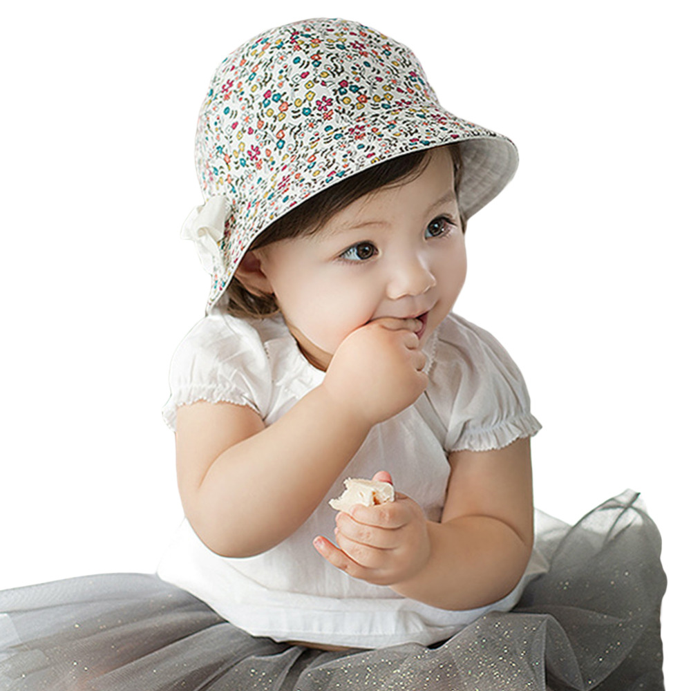 New 2017 Baby Girls Cute Dual-Use Floral Bucket Caps Hats Toddler Kids  Cotton Bowknot Sun Hat Newborn Photography Props Cheap Z5 d18b4537372