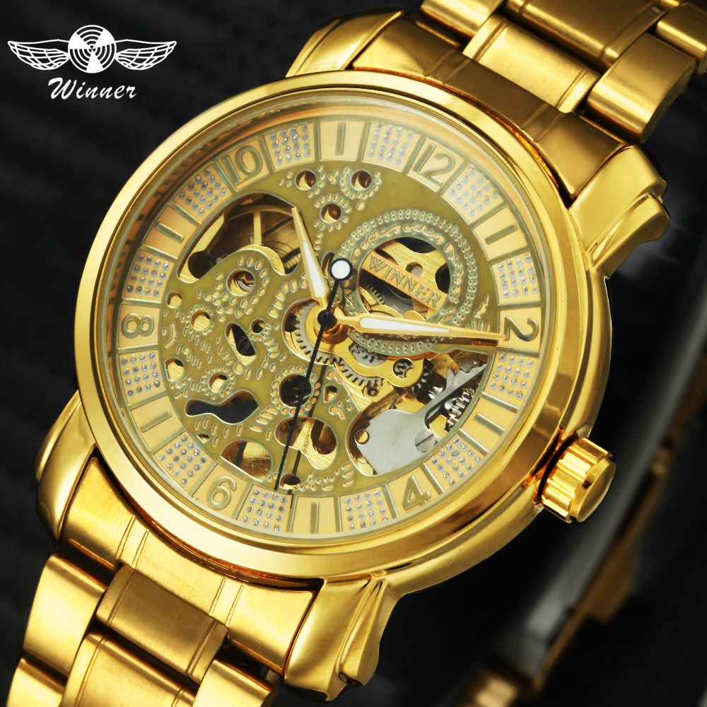 WINNAAR Topmerk Deluxe Vrouw All Golden Automatic Mechanisch horloge - Dameshorloges - Foto 1