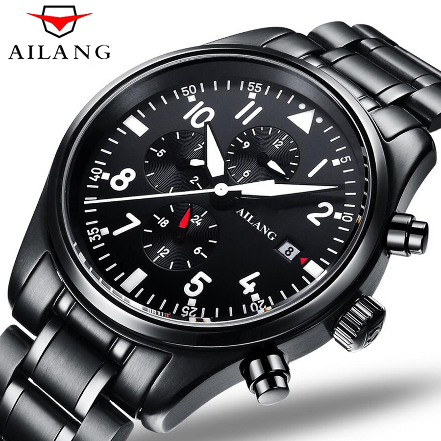 Luxury Brand AILANG Fashion Steel Strap Automatic Mechanical Watches Men's Sports Military Wrist Watch Black relogio masculino ultra luxury 2 3 5 modes german motor watch winder white color wooden black pu leater inside automatic watch winder