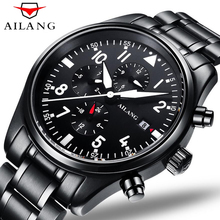 Luxury Brand AILANG Fashion Steel Strap Automatic Mechanical Watches Men's Sports Military Wrist Watch Black relogio masculino