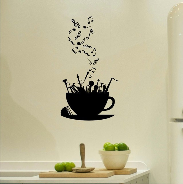 Music notes blow out from coffee cup wall decals for kitchen living room vinyl stickers window