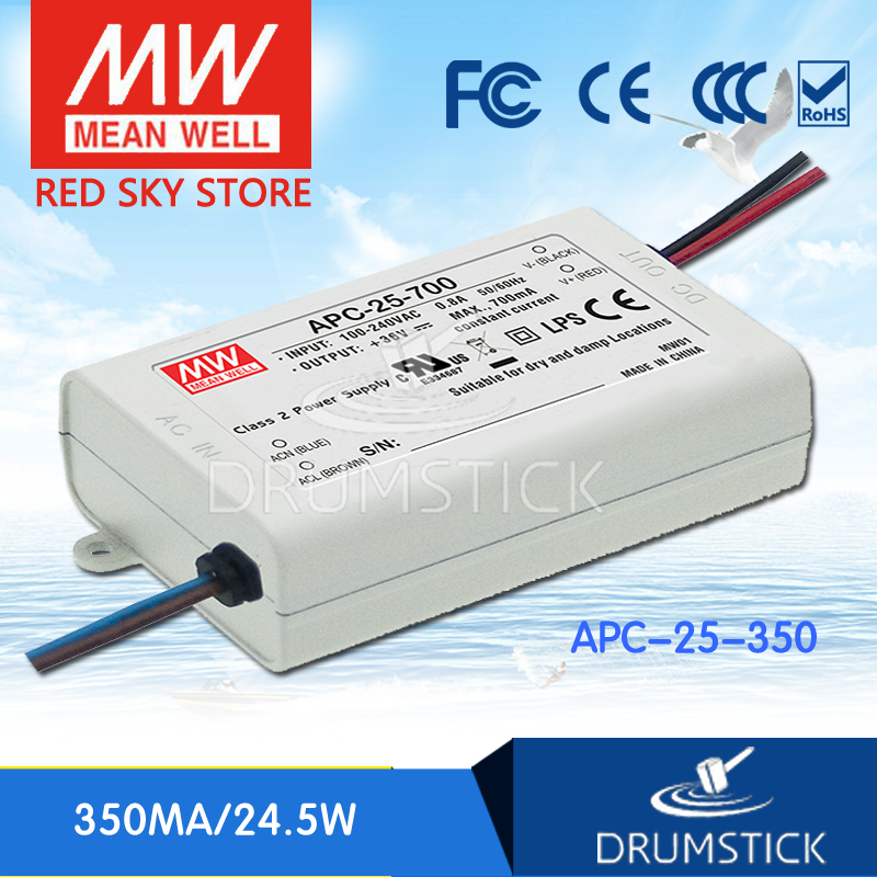 Redsky free-delivery 10Pcs MEAN WELL APC-25-350 70V 350mA meanwell APC-25 24.5W Single Output LED Switching Power Supply mean well apc 25 600 waterproof ip67 25w power supply grayish white 100 240v