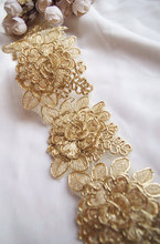 3D gold cord lace trim with roses, golden alencon