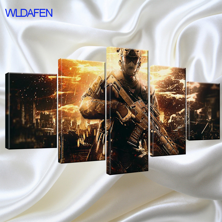 Wall Art Home Decor Frame Abstract Canvas Pictures 5 Pieces Call Duty Black Action Paintings HD Printed Game Posters
