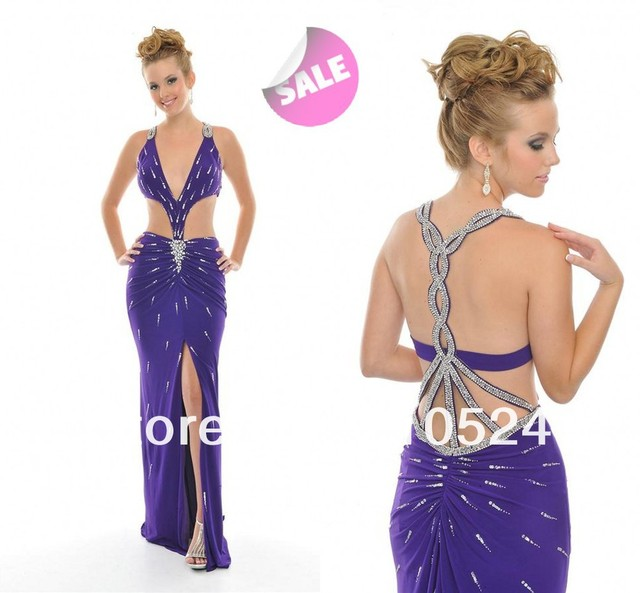 037ab7d9def Halter Meteor Type Sequins On Body Elegant Deep V Neck Sexy Hollow Out  Purple Prom Dress for women