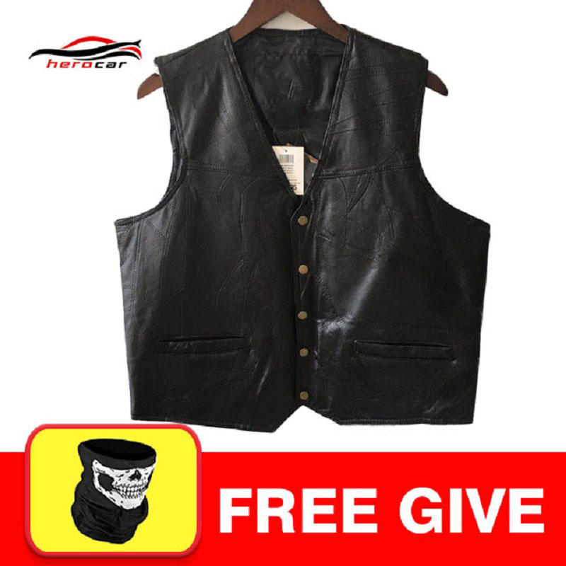 New Motorcycle Jacket Mens Genuine Leather Vest Punk Retro Classic Style Biker Club Casual Vest Moto Clothing Motorcycle Jacket free shipping new vintage brand clothing mens cow leather jackets men genuine leather biker jacket motorcycle homme fitness