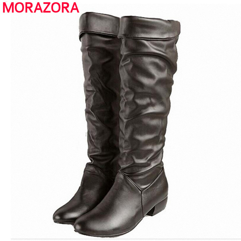 large size 2017 new arrive knee high boots black