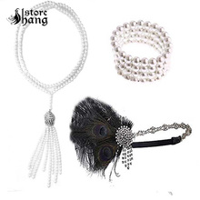 1920s Flapper Costume Accessories for Women Roaring 20s Headpiece Necklace Bracelet 3 in 1 Outfit