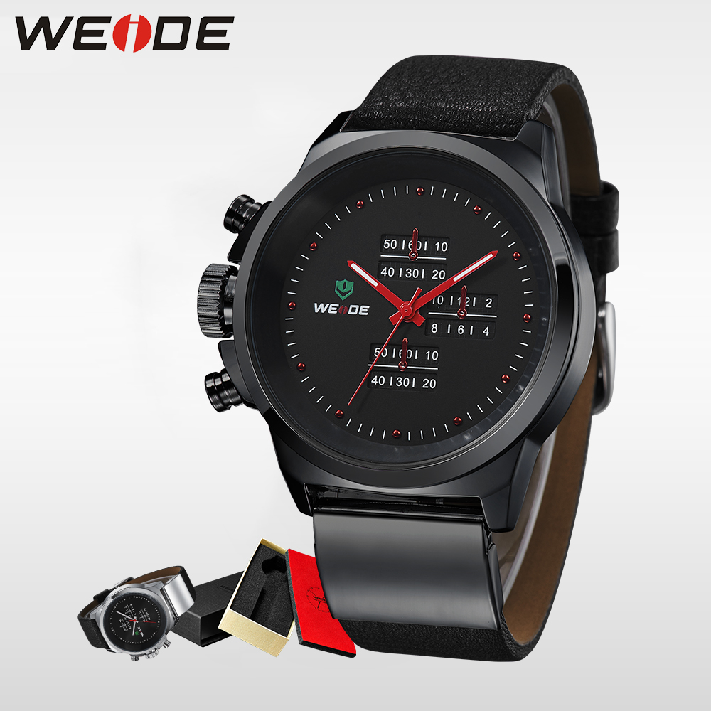 WEIDE Top Brand Japan Movt Men Sports Quartz Watch Stainless Steel Back 3ATM Water Resistant Real Leather Wristwatch Alarm Clock