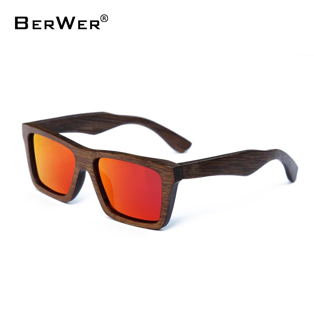 BerWer 2019 Kayu Kayu coklat buluh Cermin mata hitam Aksesori kacamata Wanita Cermin mata hitam Lelaki gelas