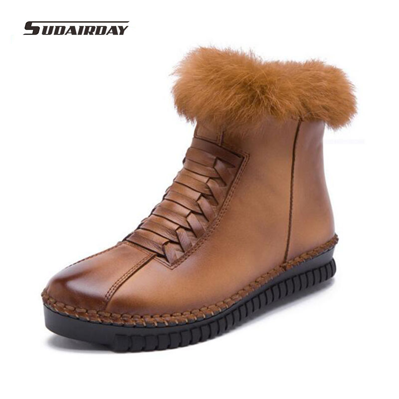ФОТО 2016 new waterproof winter boots Women Shoes Flat Fur Warm  Genuine  Leather snow Boots Casual Handmade Women Ankle Boots
