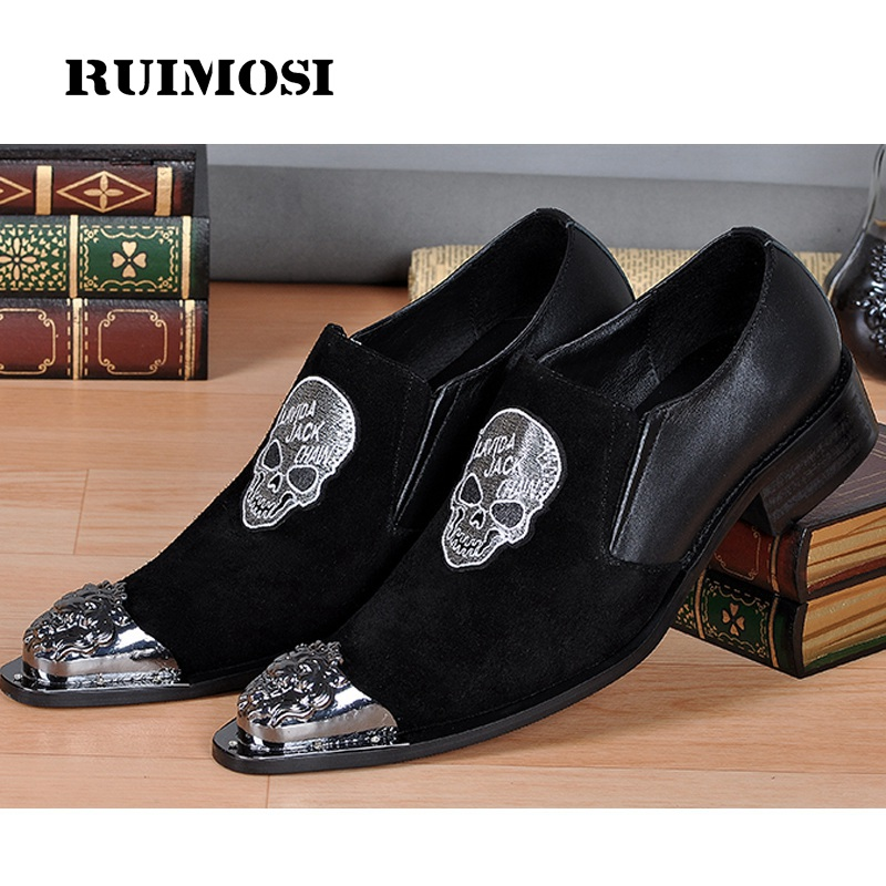 RUIMOSI Plus Size Skull Embroidered Man Loafer Shoes Cow Suede Leather Male Pointed Toe Prom Party Men's Punk Rocker Flats KH62
