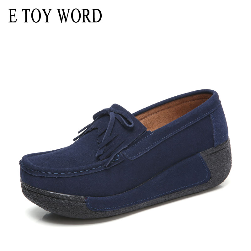 E TOY WORD 2019 Spring flat Platform Loafers ladies fashion Suede Moccasins Tass
