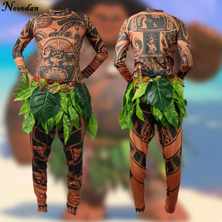 Film Moana Maui Cosplay Kostüm Volle Sets Halloween Party Männer Phantasie Body Strumpfhosen Sweatshirt + Hosen + Blätter