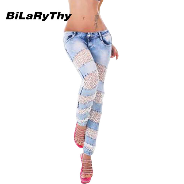 BiLaRyThy New Fashion Women Ladies Sexy Skinny Jeans Hollow Out Lace Spliced Low Waist Elastic Denim Pencil Pants Trousers