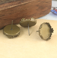 100pcs Cabochon 15mm Antique Bronze Copper Earring Crown studs cameo,earrings base setting stud accessories