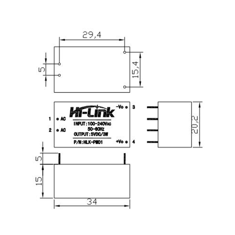 HLK-PM01 HLK-PM03 HLK-PM12 AC-DC 220V to 5V 3.3V 12V Power Module AC to DC Isol