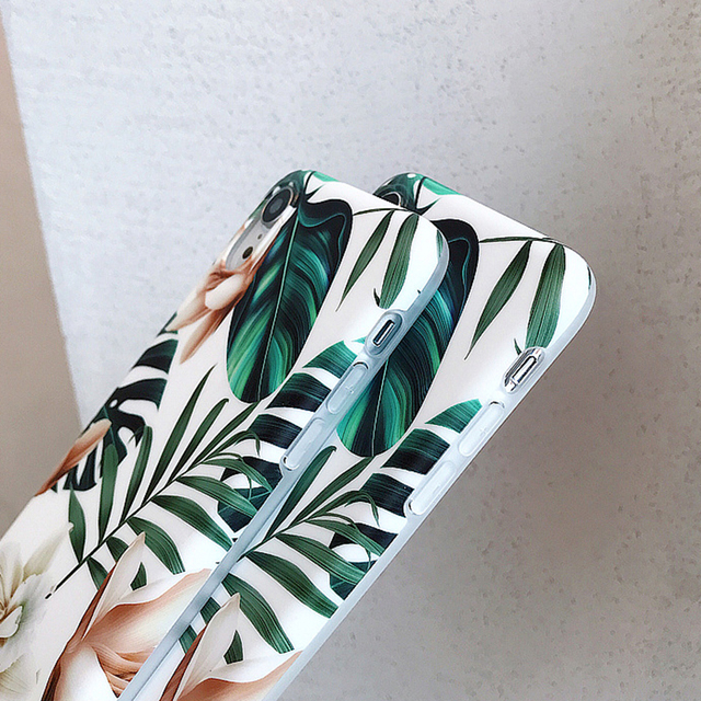 Hot Art Flowers & Banana Leaf Phone Case For iPhone 12 Mini 11 Pro Max XR XS Max 6 7 8 Plus X  Soft IMD Phone Back Cover Cases 5