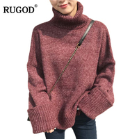 RUGOD Fashion Solid Christmas Sweater Turtleneck Long Sleeve Women Sweaters And Pullovers Casual Winter Female Pullover