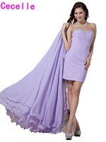 2017 Lilac High Low Fitted Evening Dresses Detachabl Train Teens Sweetheart Beaded Chiffon Informal Prom Evening