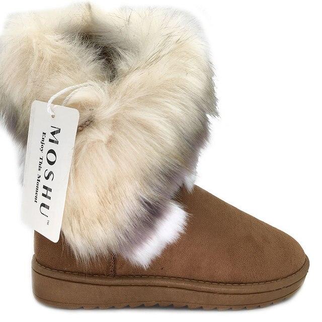 Phụ nữ Mùa Đông Cổ Chân Giày Tuyết Nữ Cáo Lông Nêm Úc Giày Nữ Botas