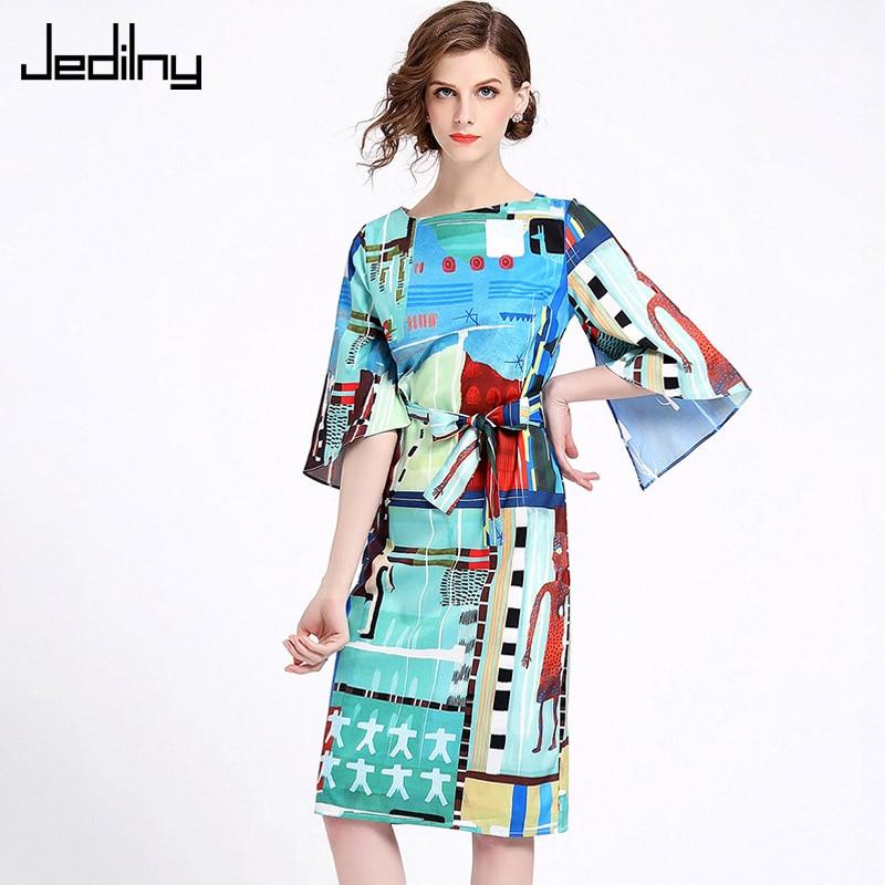 Elegant Ladies Dress 2019 Summer Women O neck Three Quarter Sleeve Loose Waist Printed Dress Party