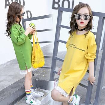Teenage Girls Hoodie Dress Long Sleeve Girls Dress with Lace 2019 Spring New Kids Girls Casual Dresses Girls T-shirt Dress Fall 1