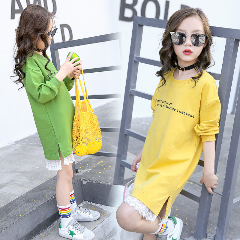 Teenage Girls Hoodie Dress Long Sleeve Girls Dress with Lace 2018 Spring New Kids Girls Casual Dresses Girls T-shirt Dress Fall