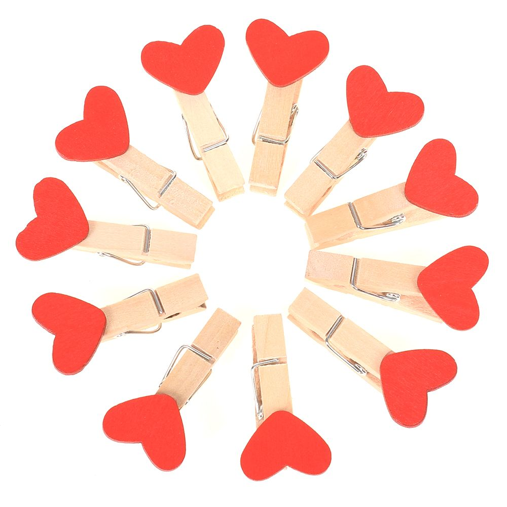 10pcs Mini Red Heart Love Wooden Clothes Photo Paper Peg Pin Clothespin Craft Postcard Clips Home Vintage Clips
