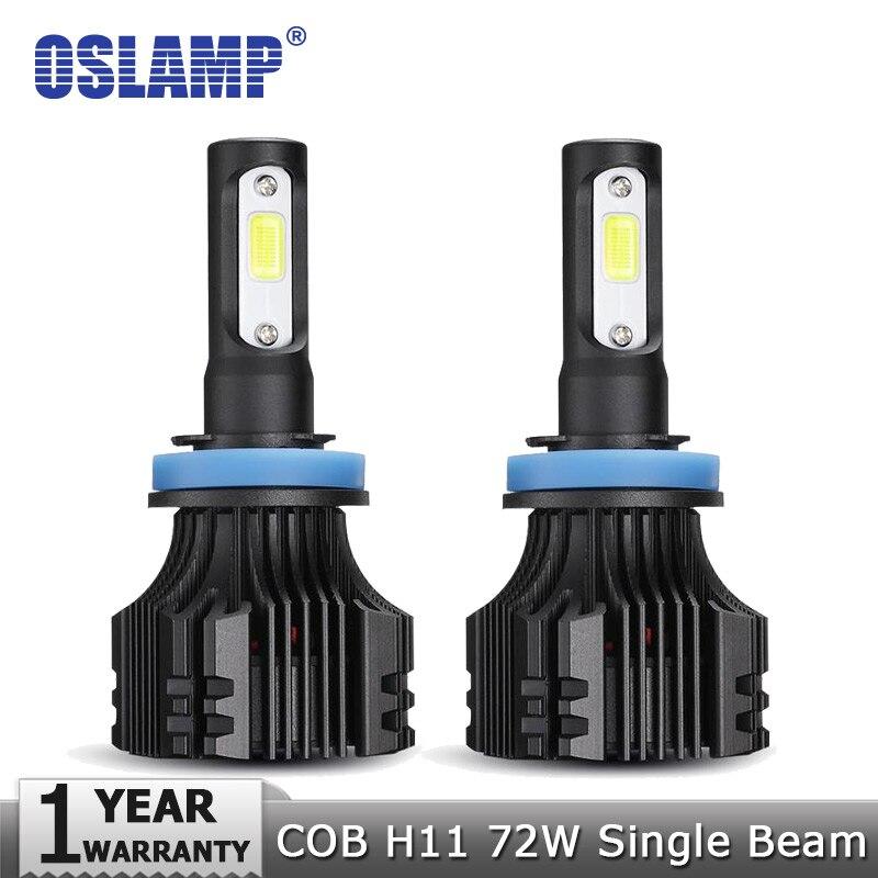 Oslamp COB Chips 72W/pair H11 LED Headlight Kits 8000LM Car Bulbs 6500K 12v 24v Auto Led Headlamp H11 Fog Lamps with Cooling Fan oslamp s5 series 2x 36w h1 led headlight bulbs 6500k white cob chips 2pcs h1 fog lamps all in one led car bulbs with cooling fan