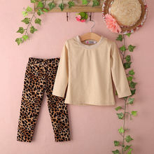 2pcs Baby Kids Girls Casual long sleeveTops Shirt Blouses + Leopard Pants Trousers Outfits