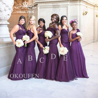 Fashion Grape Purple Long Bridesmaid Dresses Mermaid 2019 African Women Wholesale Price Sleeveless Party Dress Formal Gown