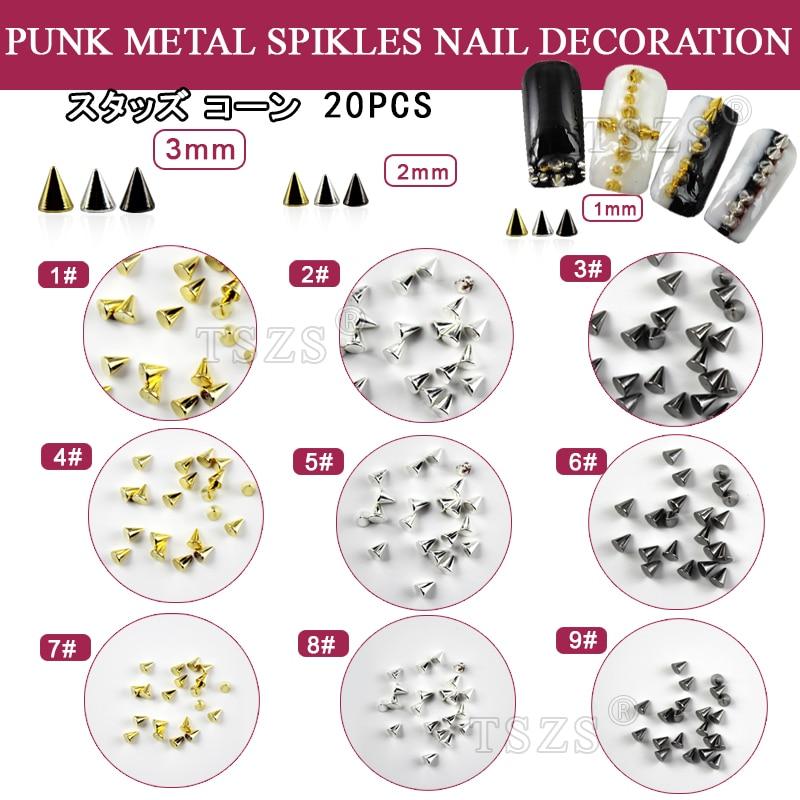 ᑎ‰100pcs /lot Gold Silver Black Metal Nail Art Tiny Stick Cone ...