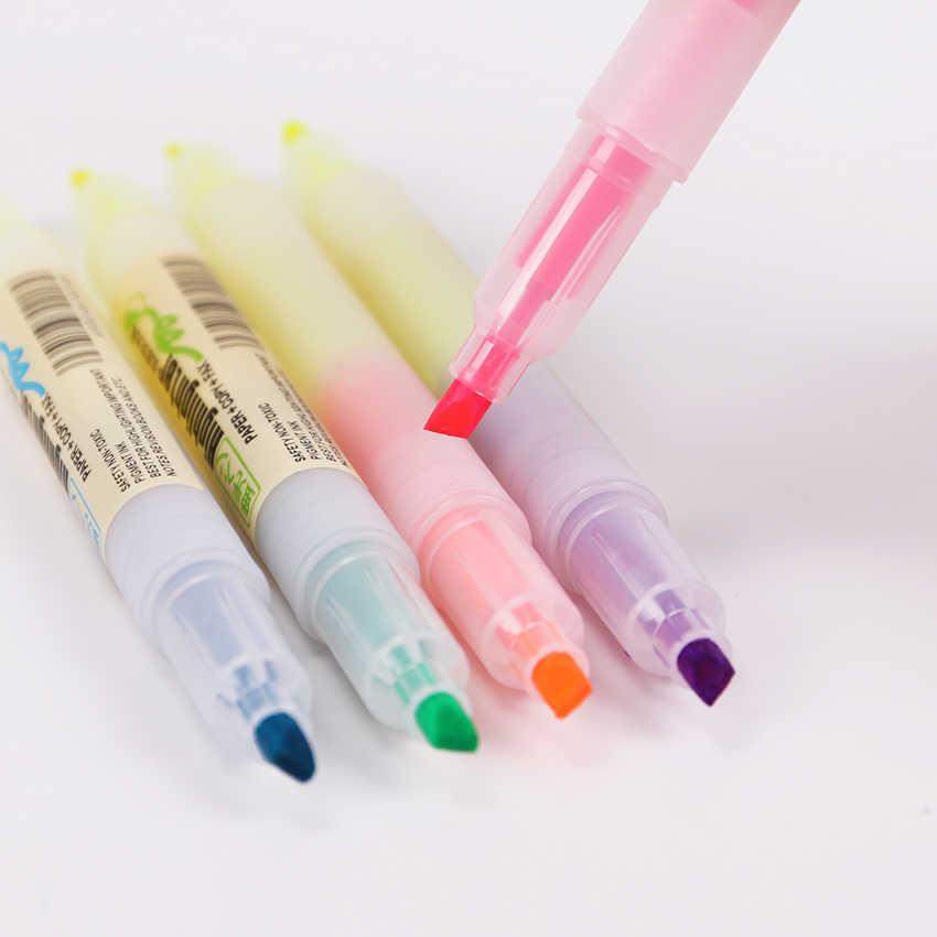 5 יח'\סט כפול ראש כפול צבעים מרקר עטים חמוד ישר נוזל סימון עט משרד מכתבים ספר H-2302