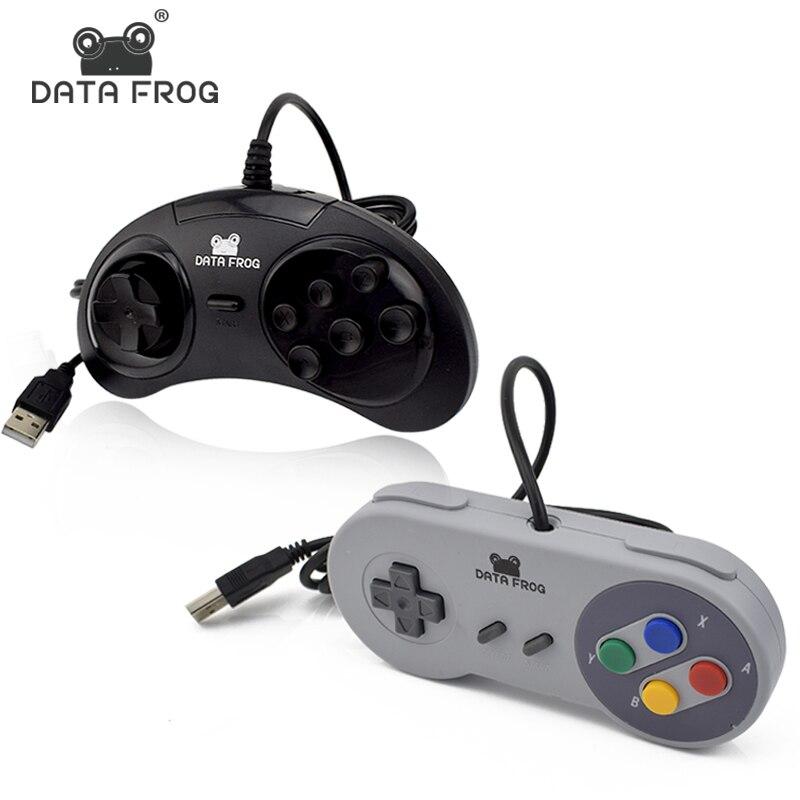 2 Pcs Wired USB Controller For SNES Gamepad Joystick For PC/Mac/Laptop Gaming Joysticks For 6 Buttons SEGA Joypad