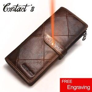 Image 1 - 2020 echtes Leder Brieftaschen Kupplung Männer Patchwork Geldbörse Und Handy Brieftasche Lange Luxus Marke Münze Tasche Karte Halter Retro Stil